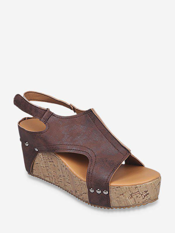 Cut Out Slingback Wedge Heel Shoes - BROWN EU 39