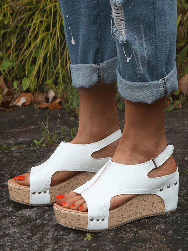 Cut Out Slingback Wedge Heel Shoes - WHITE EU 40