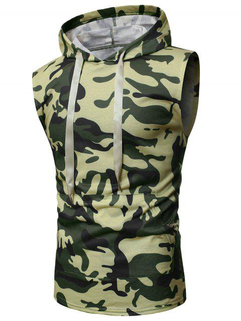 Camouflage Print Back Zip Hooded Tank Top