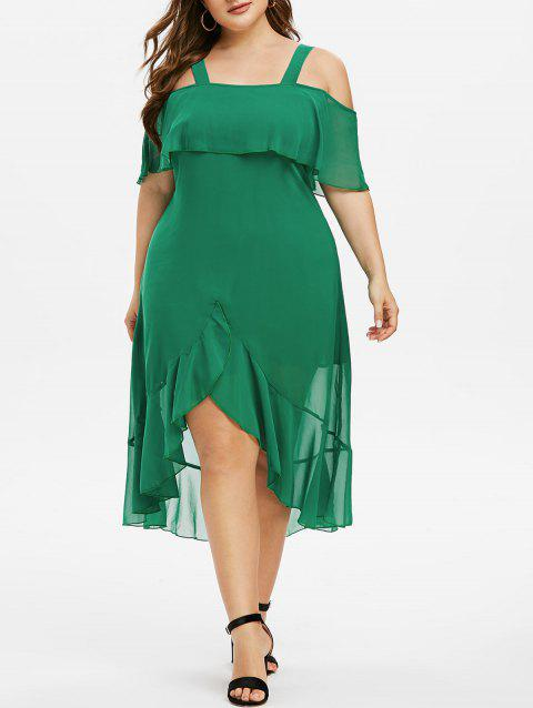 Plus Size Open Shoulder Ruffled High Low Dress