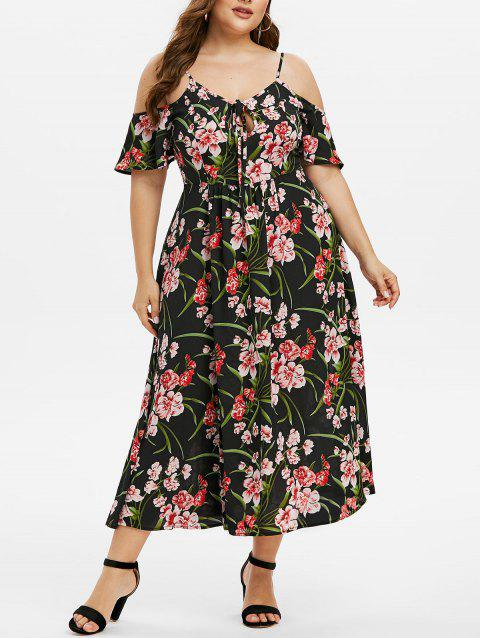 Plus Size Cold Shoulder Tied Floral Print Dress