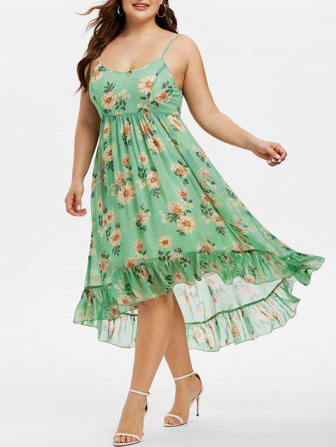 Plus Size Floral Print High Low Flounce Dress