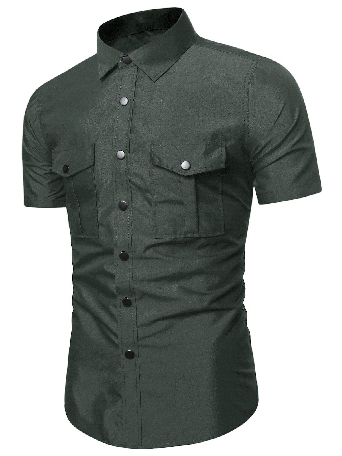 Pure Color Flap Pockets Slim Fit Cargo Shirt - ARMY GREEN L
