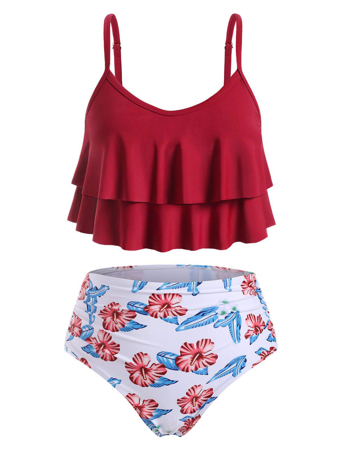 Tiered Flounces Floral Ruched High Waisted Plus Size Tankini Swimsuit - RED WINE 1X
