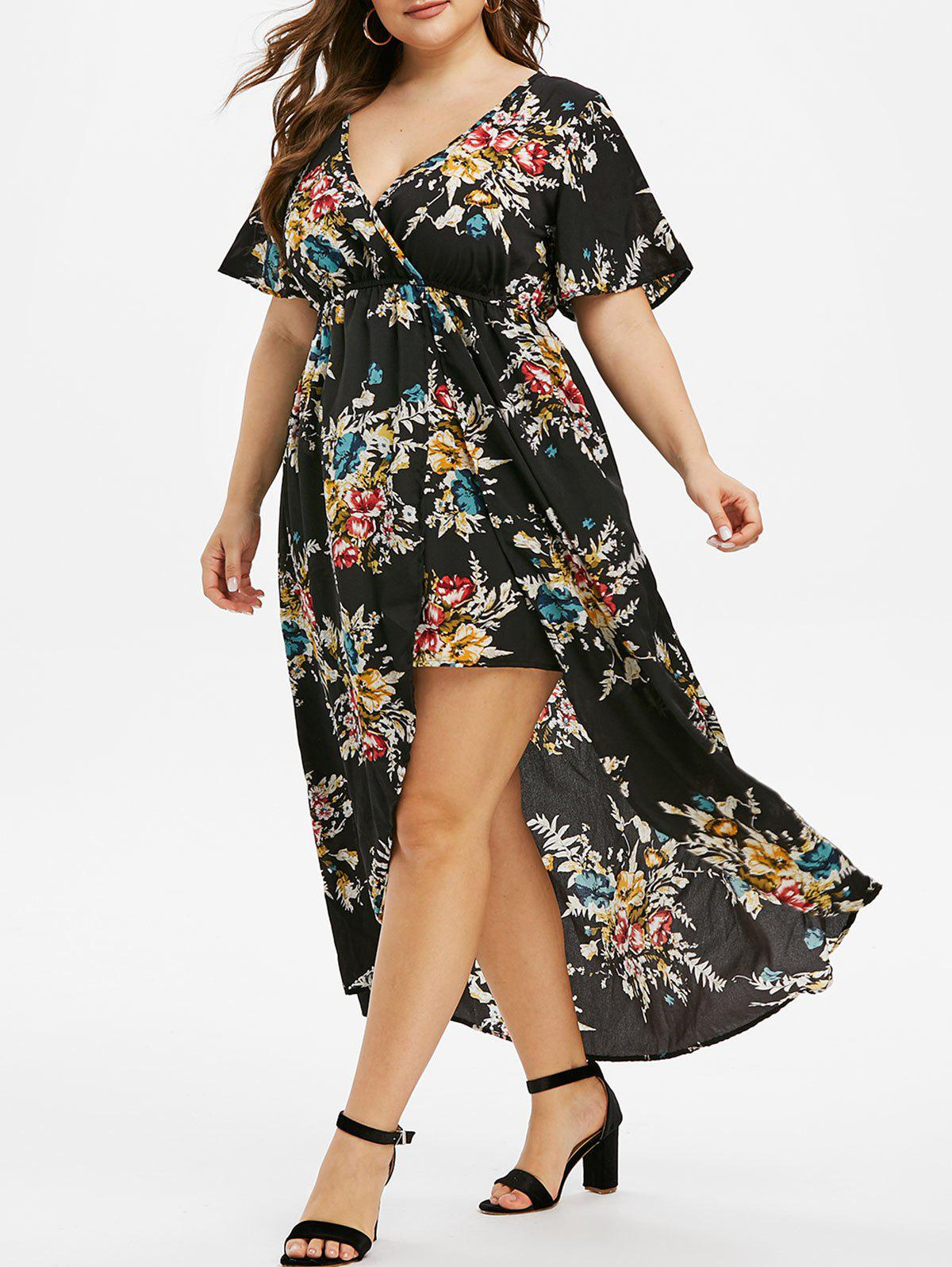 Plus Size V Neck Flare Sleeve High Low Long Dress - BLACK 2X