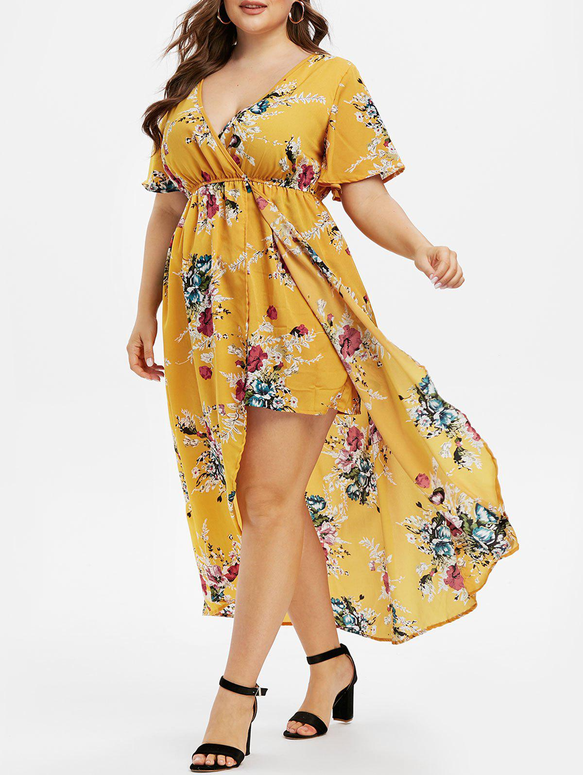 Plus Size V Neck Flare Sleeve High Low Long Dress - GOLDENROD 4X