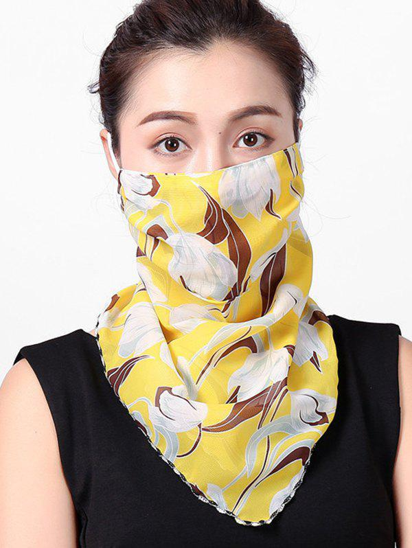 Flower Printed Outdoor Face Mask Scarf - YELLOW