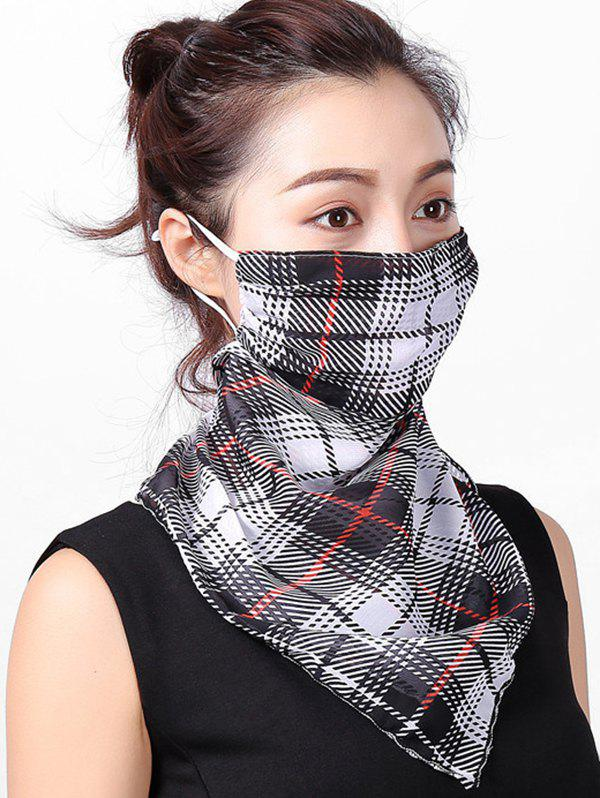 Plaid Printed Riding Face Mask Scarf - BLACK