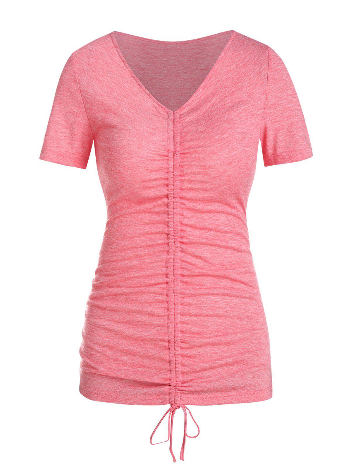V Neck Cinched Heathered T-shirt - PINK 3XL
