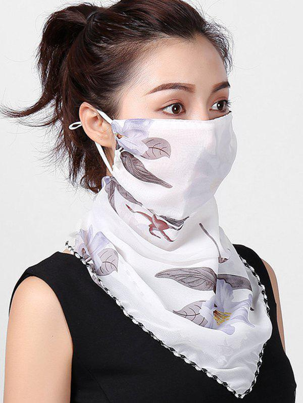 Outdoor Floral Print Riding Mask Scarf - WHITE