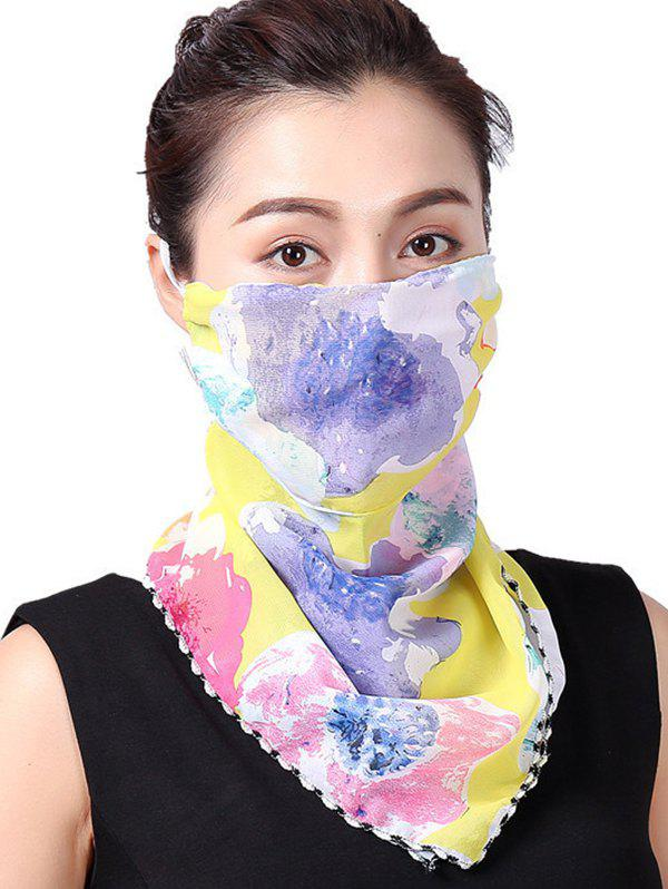 Water Color Flower Print Riding Mask Scarf - YELLOW