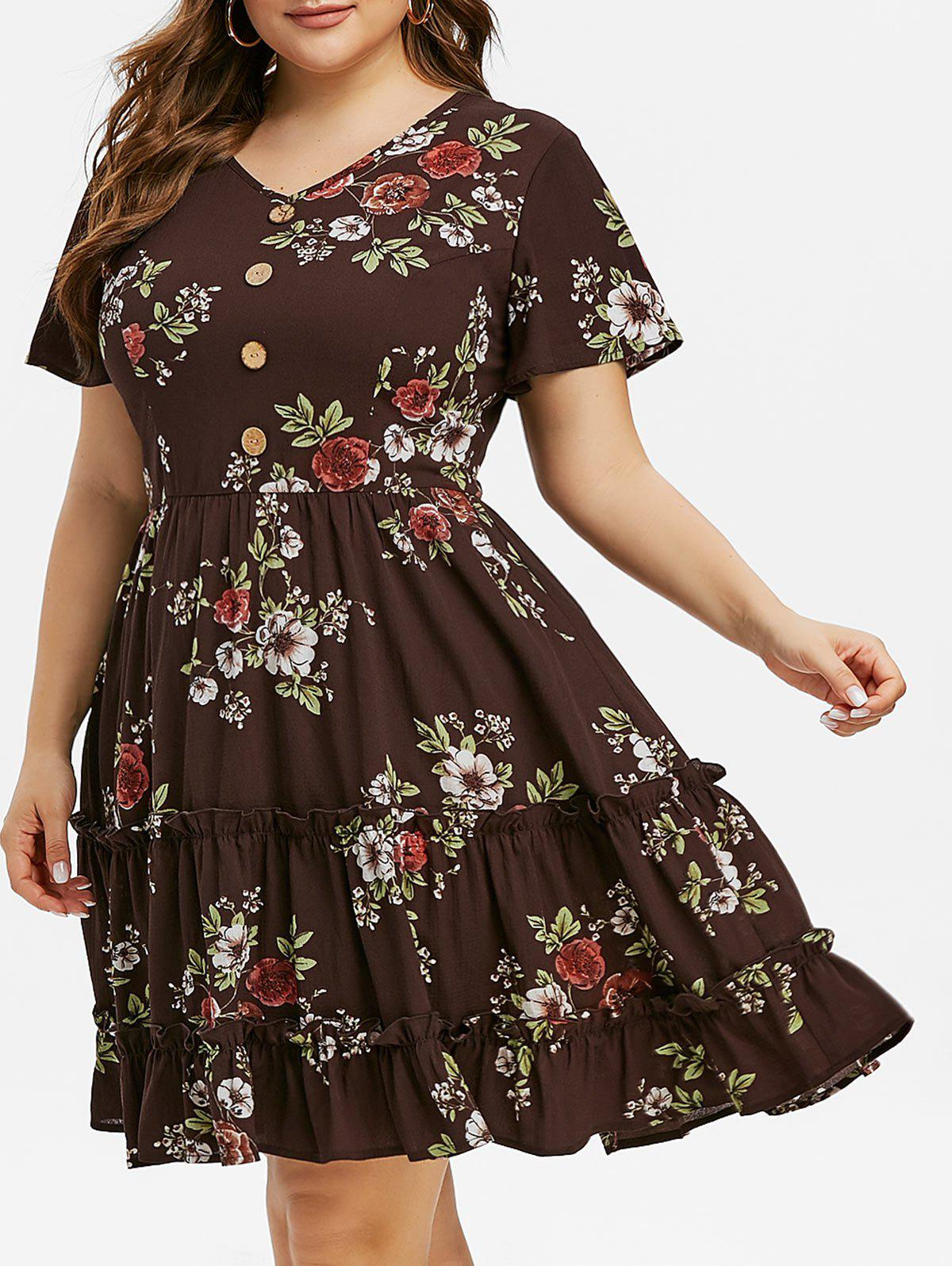 Plus Size Floral Print Buttoned Ruffled Dress - SEPIA 4X