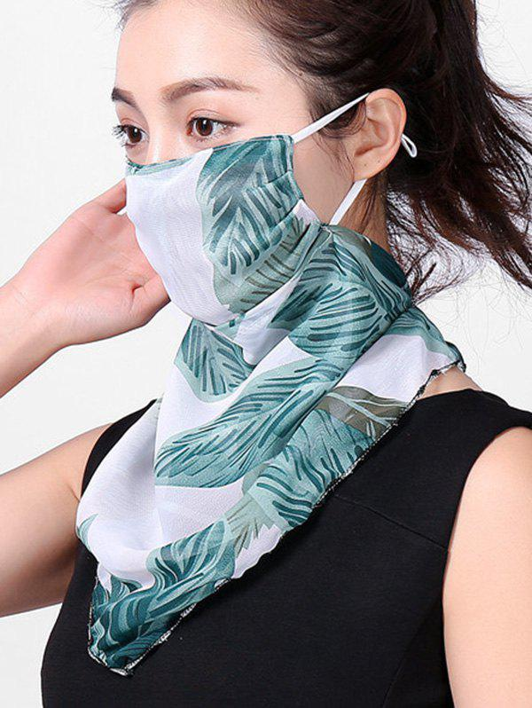Outdoor Leaf Printed Face Mask Scarf - LIGHT SEA GREEN