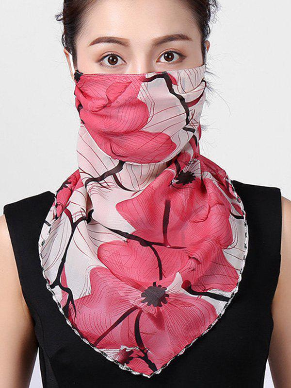 Flower Print Summer Outdoor Mask Scarf - ROSE RED