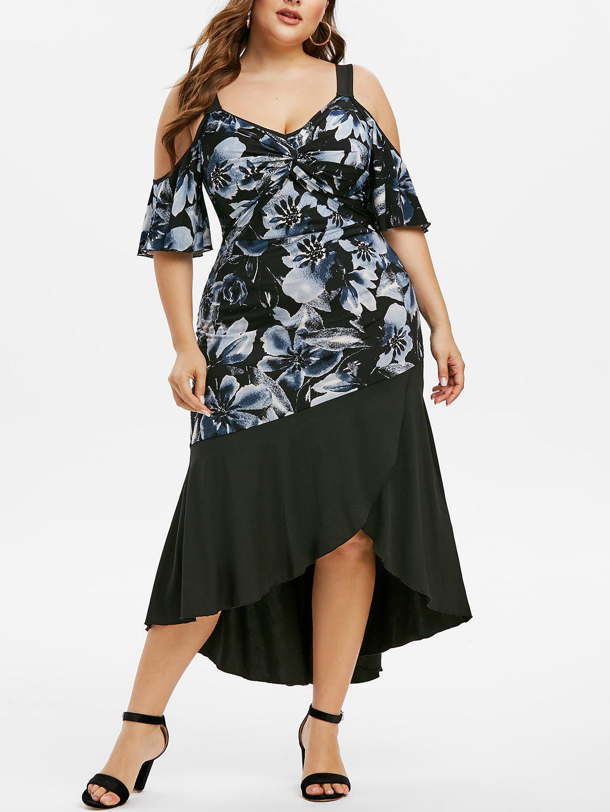 Plus Size Floral Print Cold Shoulder Twist Dress - BLACK 5X
