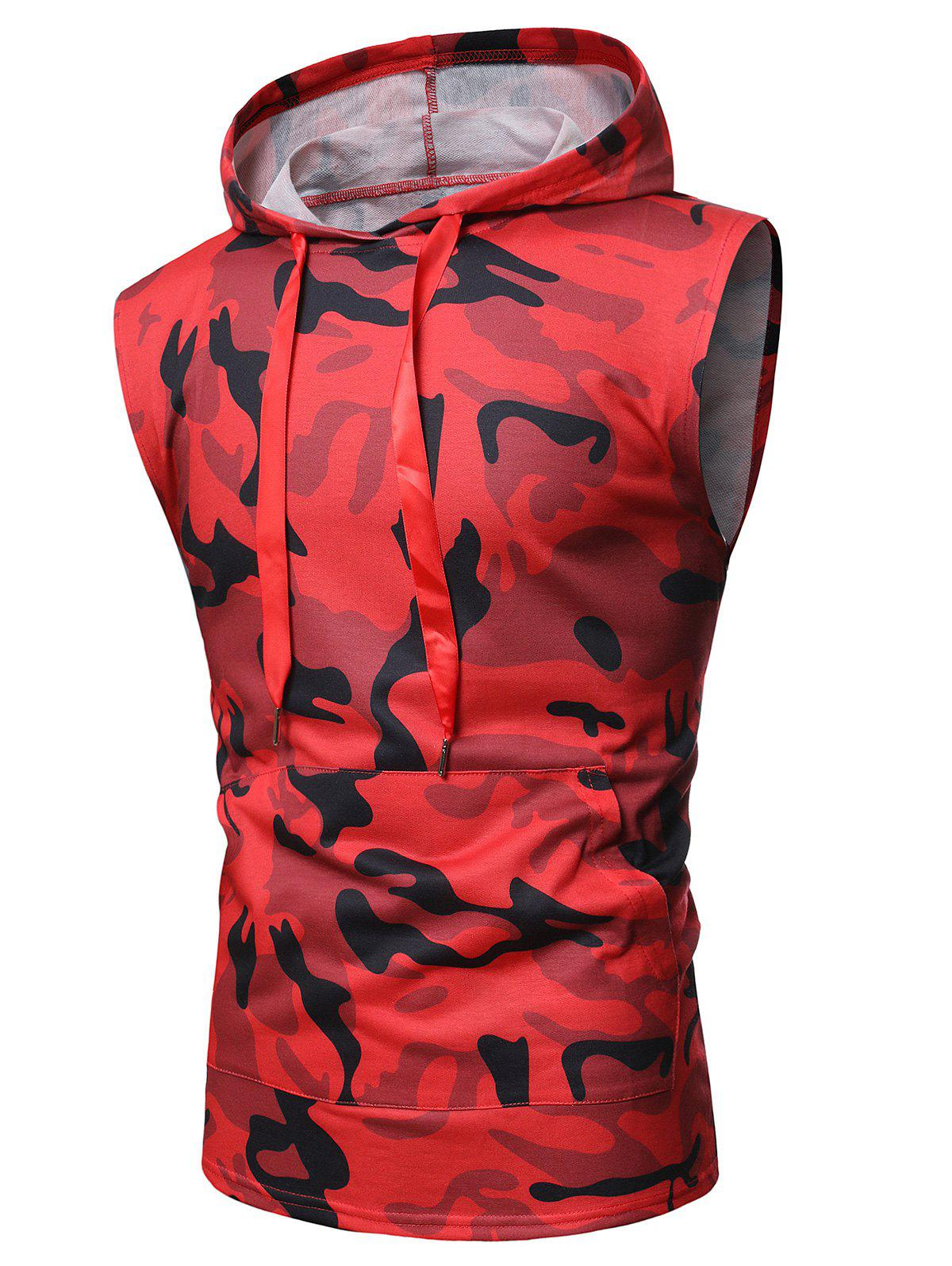 Camouflage Print Back Zip Hooded Tank Top - RED 2XL