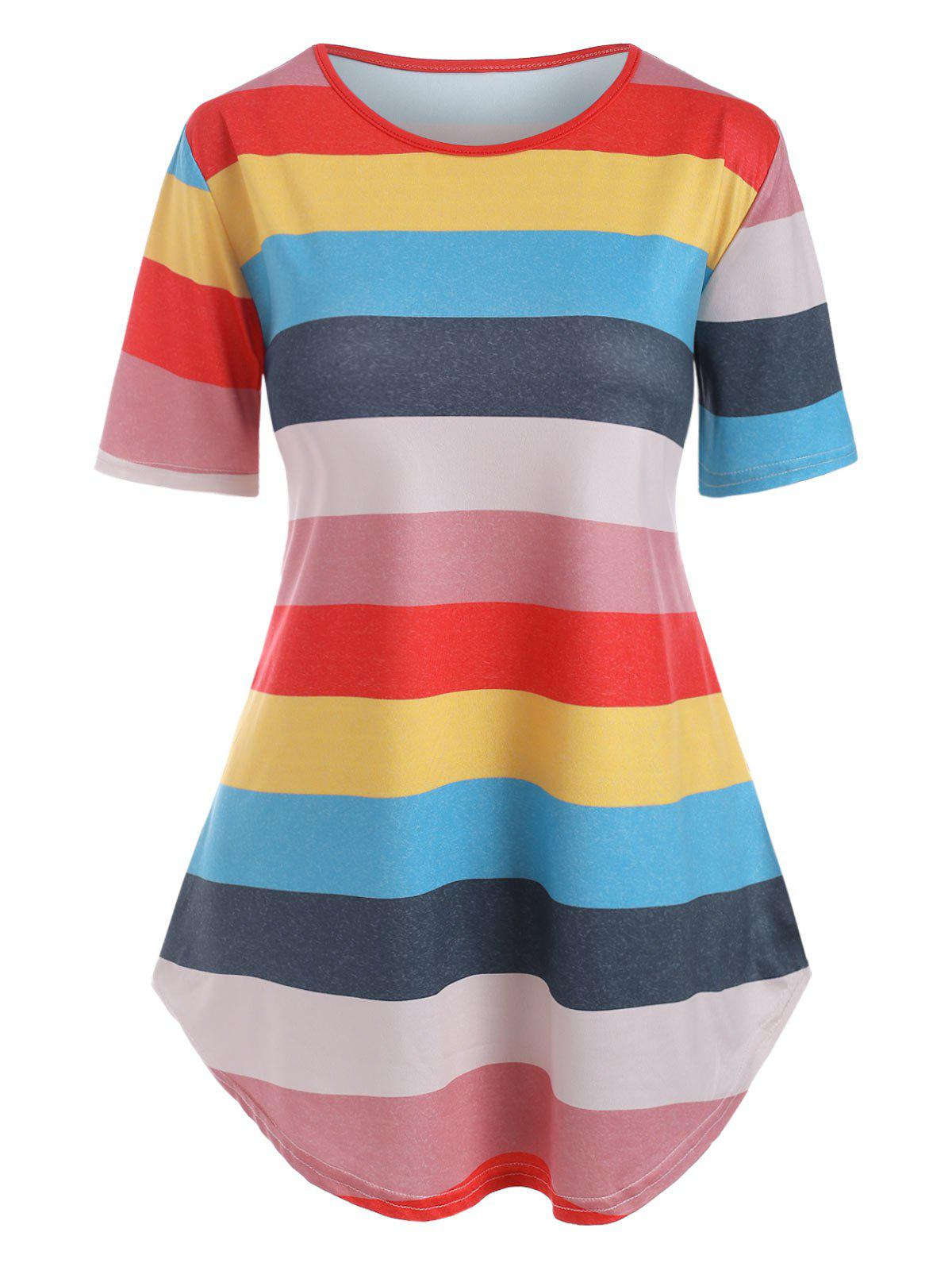 Curved Hem Colorful Stripes Tee - multicolor S