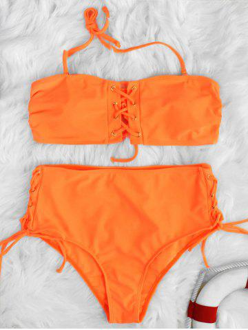 Lace Up High Waisted Halter Tie Bikini Swimwear