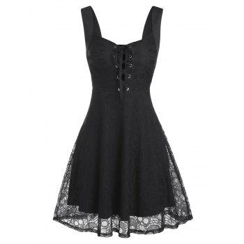 Sleeveless Lace-up Skull Lace Dress
