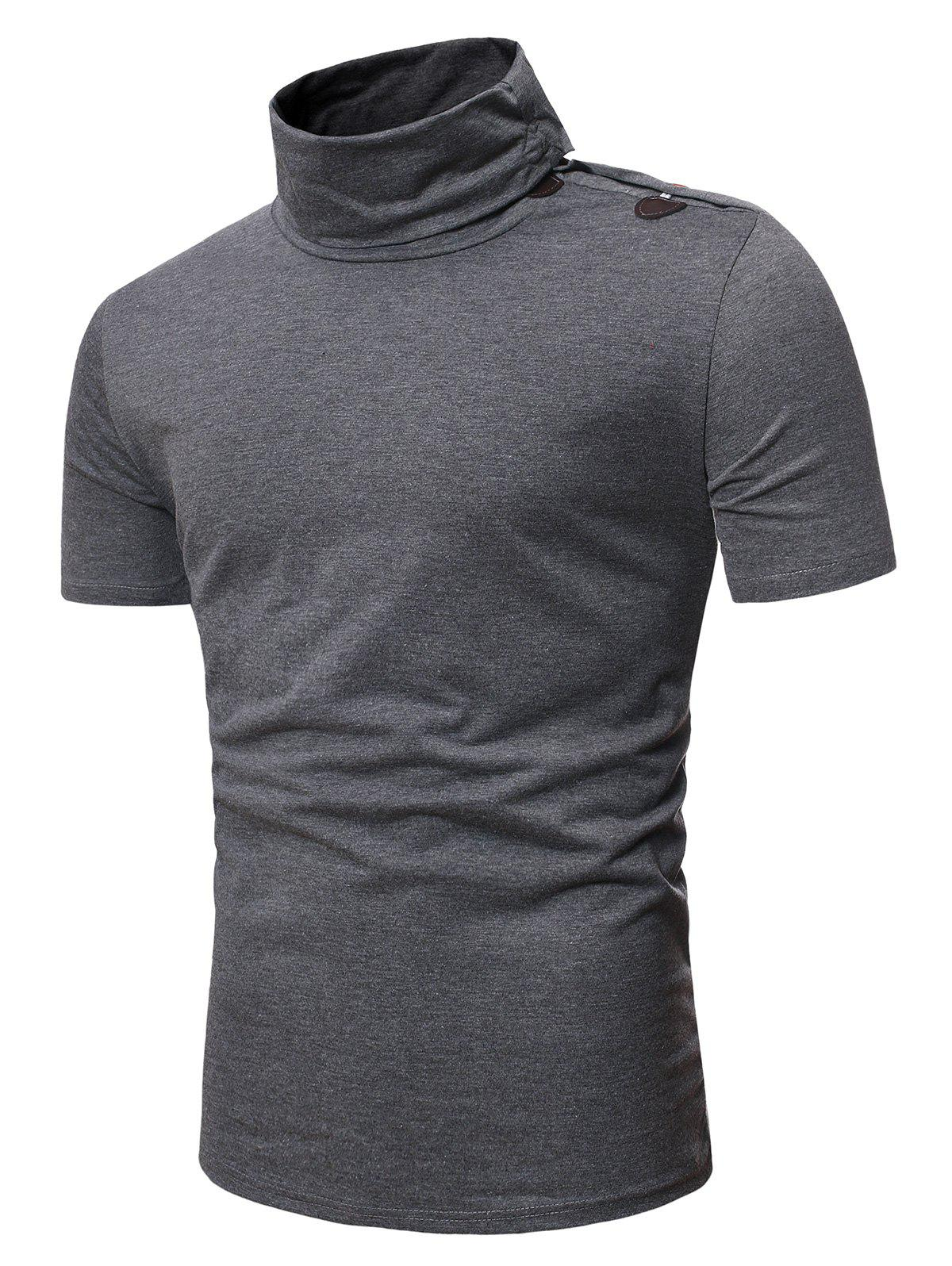 Turtleneck Horn Button Short Sleeve Slim Fit T Shirt - GRAY M