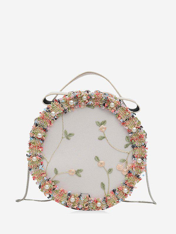 Floral Mesh Faux Pearl Crossbody Canteen Bag - WHITE