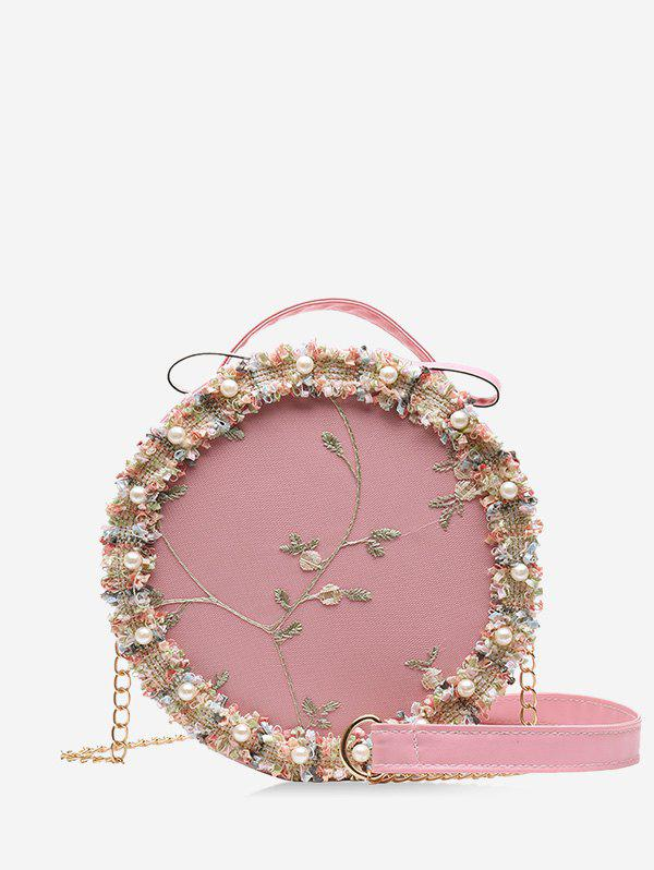 Floral Mesh Faux Pearl Crossbody Canteen Bag - PIG PINK