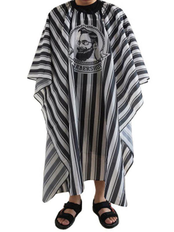 Hairdressing Striped Print Hair Cutting Cape For Adult - BLACK