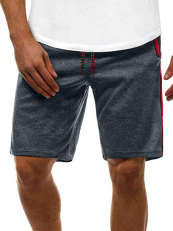 Contrast Color Zip Pockets Casual Shorts - GRAY 2XL