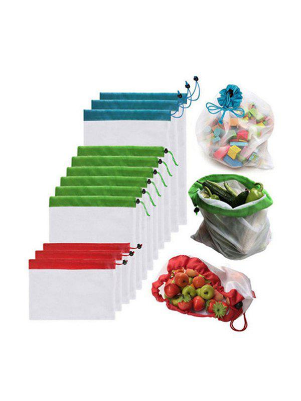 12 Pcs Fruits Mesh Drawstring Storage Bags Set - TRANSPARENT