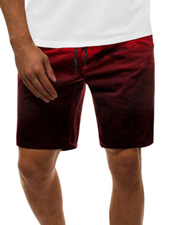 Camouflage Print Ombre Casual Drawstring Shorts - RED XL