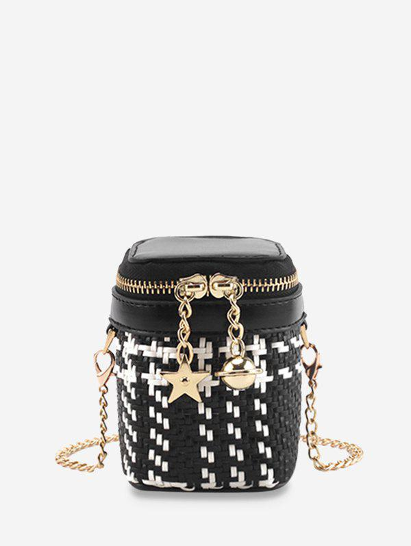 Weave Star and Bell Pendant Crossbody Bag - BLACK