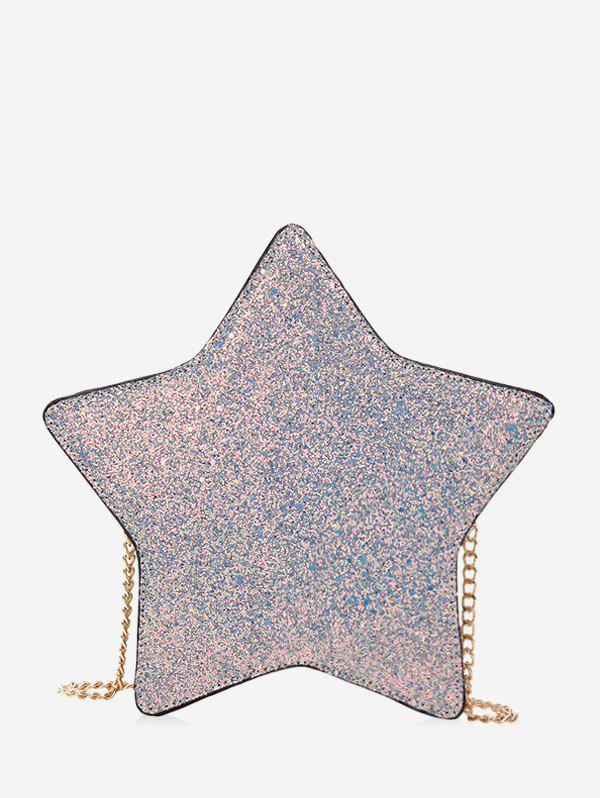 Star Shape Glitter Chain Crossbody Bag - SILVER