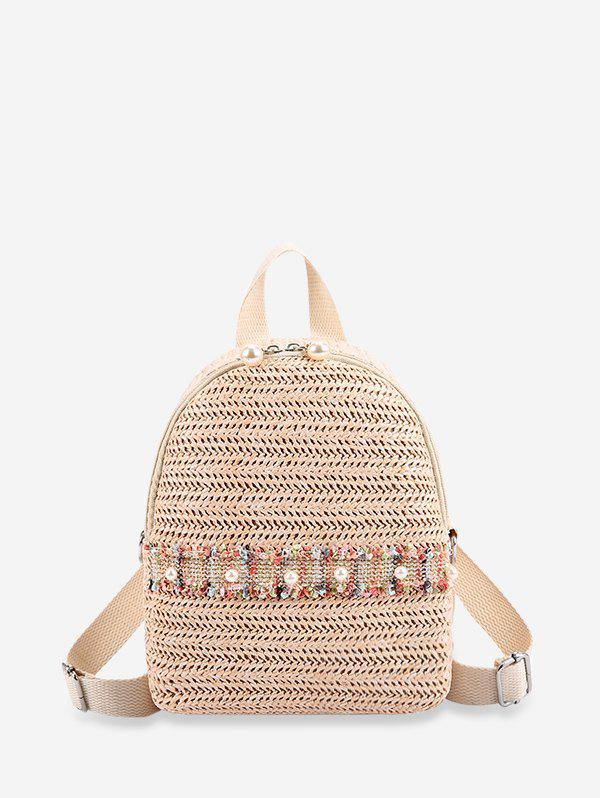 Faux Pearl Embellished Straw Small Backpack - WARM WHITE