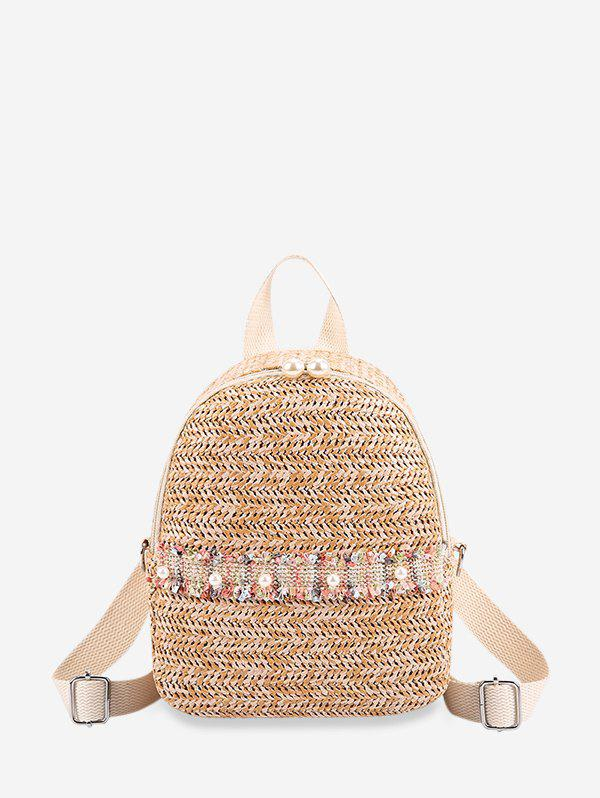 Faux Pearl Embellished Straw Small Backpack - TAN