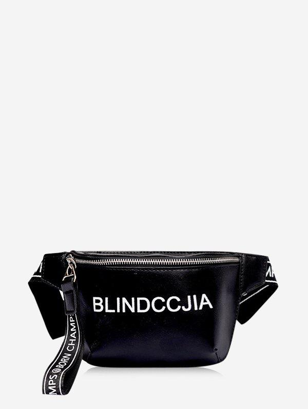 Letter Print Leather Wide Strap Chest Bag - BLACK