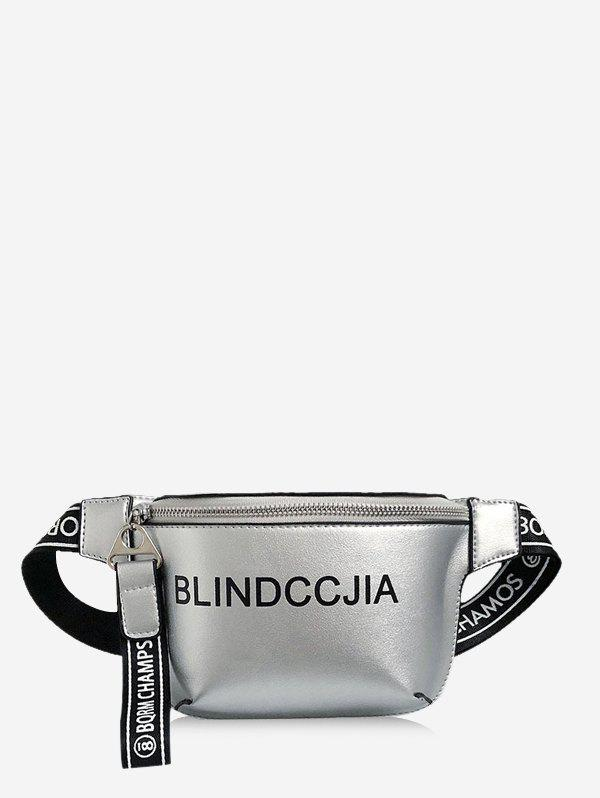 Letter Print Leather Wide Strap Chest Bag - SILVER
