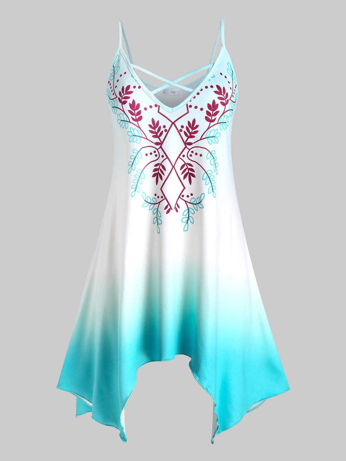 Plus Size Leaves Print Ombre Color Handkerchief Tank Top - TURQUOISE 5X