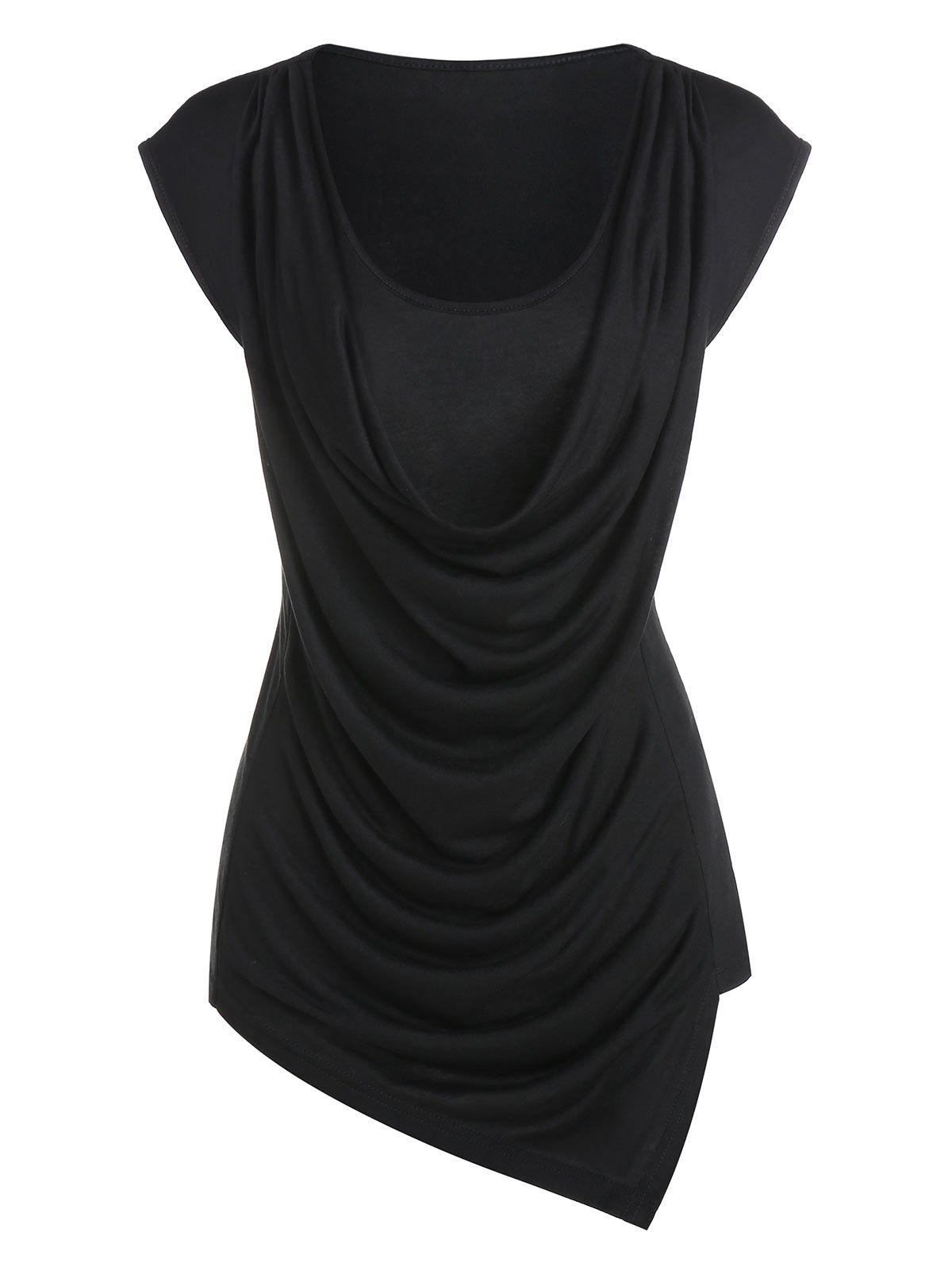 Asymmetric Draped Faux Twinset T-shirt - BLACK L