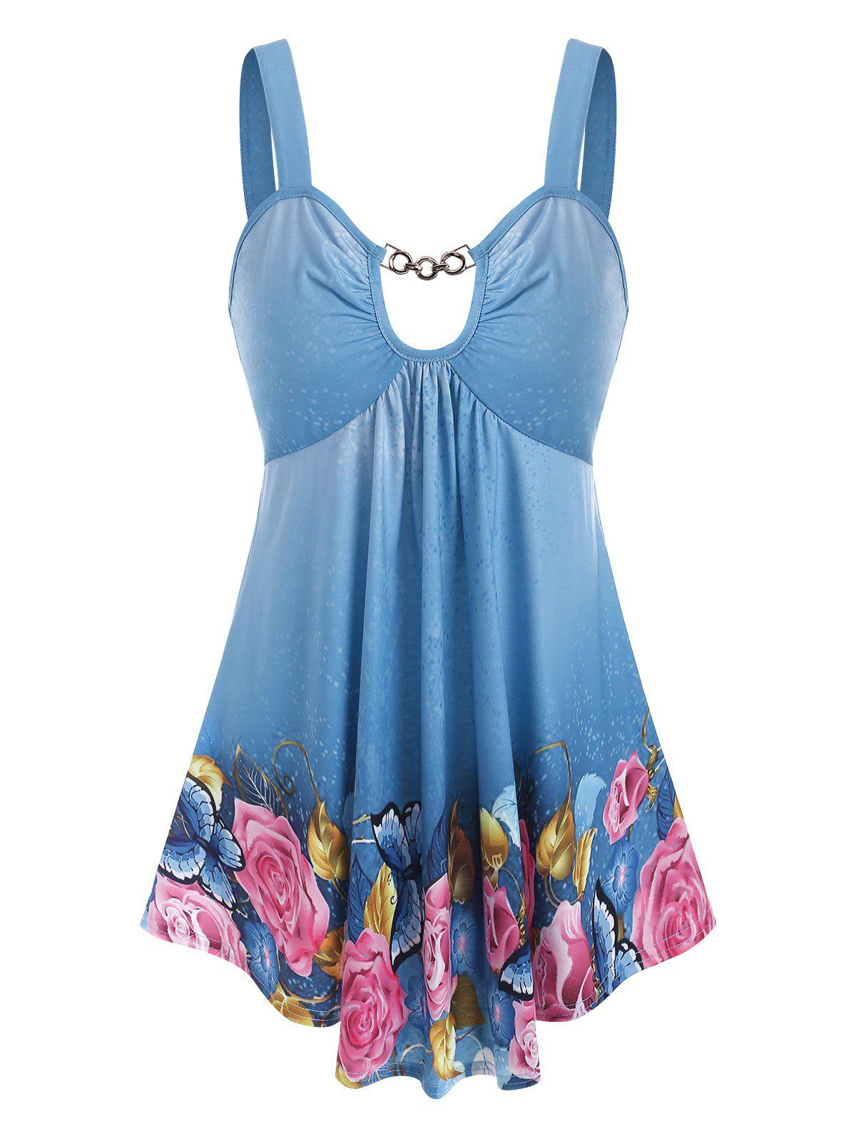 Chain Cut Out Butterfly Floral Print Tank Top - DENIM BLUE S