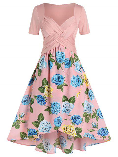 Plus Size Flower Printed Crisscross Dress