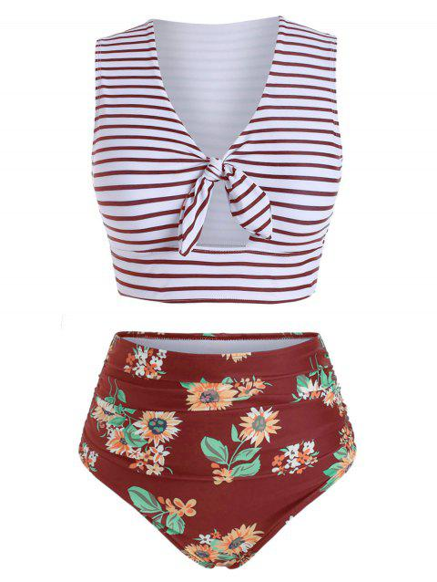 Striped Floral Knotted Two Piece Swimsuit