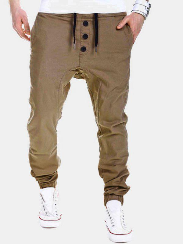 Solid Drawstring Jogger Pants with Buttons - KHAKI M