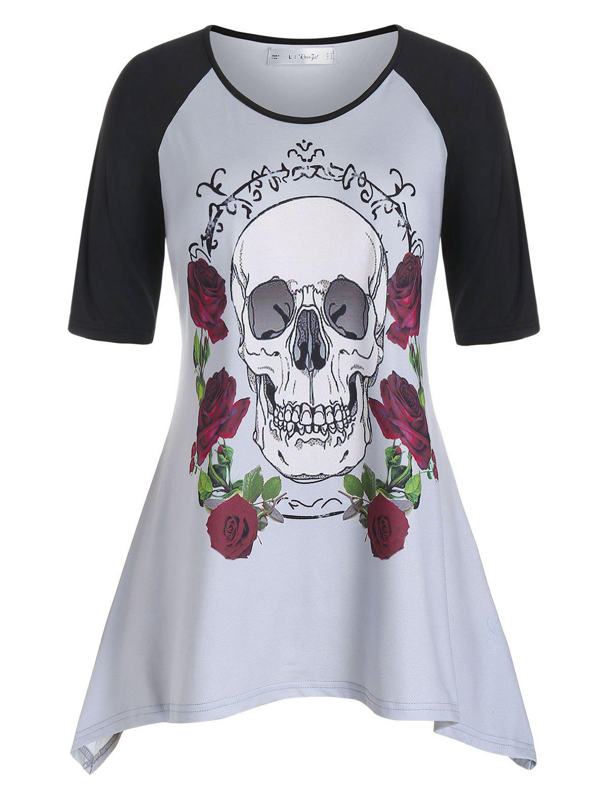 Plus Size Raglan Sleeve Rose Skull Print T Shirt - GRAY CLOUD 5X