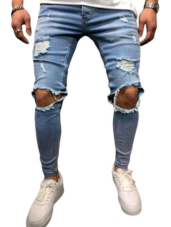 Ripped Hole Design Button Fly Jeans - DENIM BLUE XL