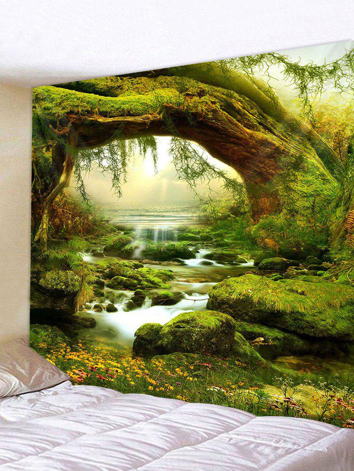 3D Print Grass Streamlet Waterproof Wall Tapestry - multicolor W79 X L71 INCH