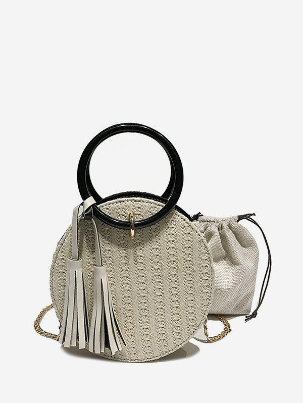 Fringe Details Straw Round Crossbody Bag Set - BEIGE