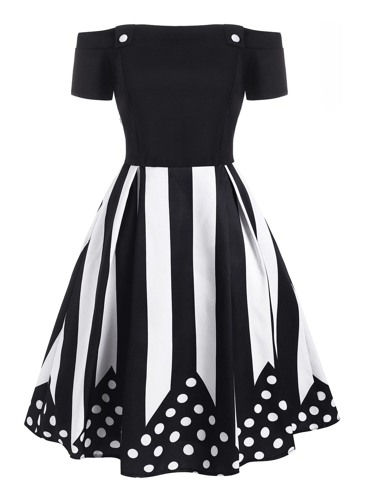 Striped Polka Dot Off Shoulder Dress - BLACK XL