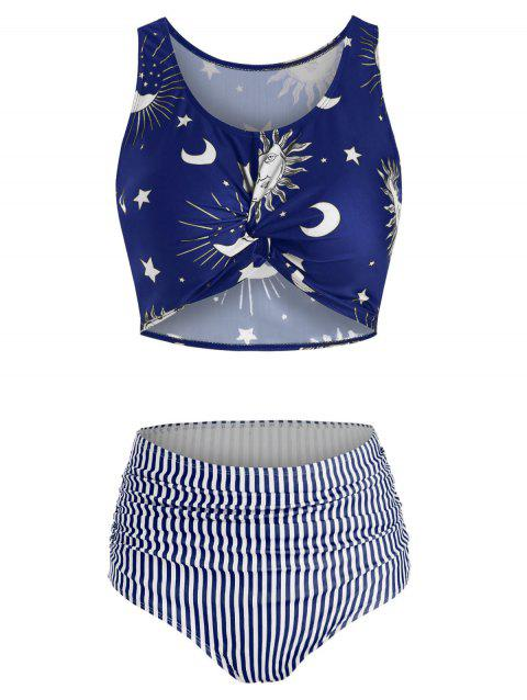 Sun Moon Star Print Twist Front Bikini Swimwear