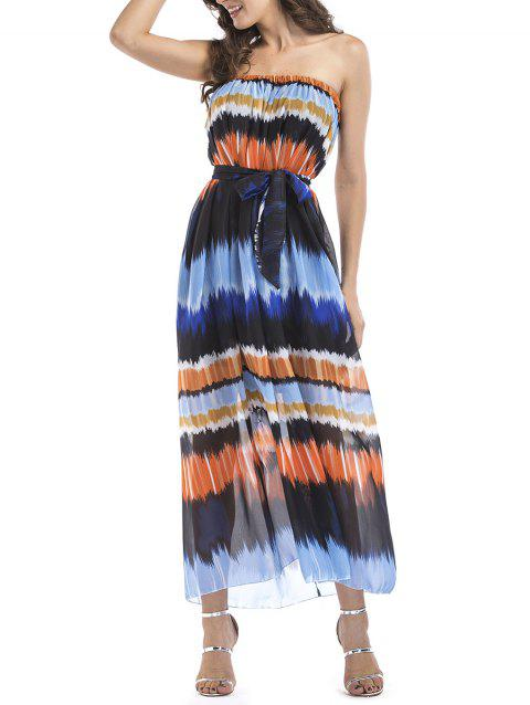 Chiffon Printed Bandeau Long Belted Dress