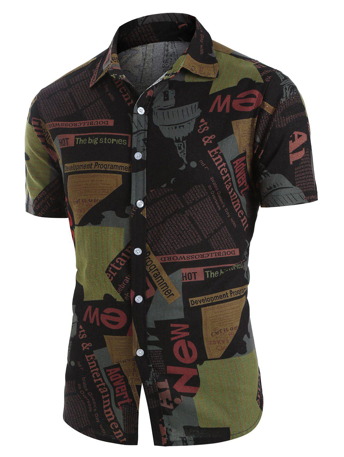Newspaper Print Button Up Casual Shirt - multicolor L